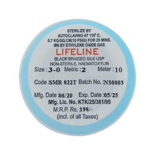 Black Braided Silk Suture Thread 3-0 10m - Lifeline