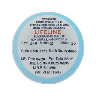 Black Braided Silk Suture Thread 3-0 10m - Lifeline